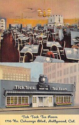 Hollywood CA Art Deco Tick Tock Tea Room~Gruen Watch Clock Over Door~Linen 1940s