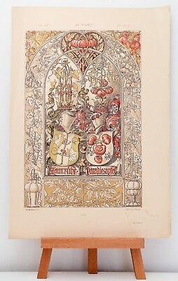 """Farb-Lithographie Plate 152 Heraldik 1886 """"Die Pflanze in Kunst und Gewerbe"""""""