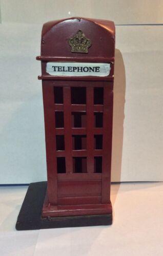British Cast Metal Red 3D Telephone Booth Miniature Figure Decor Souvenir VNTG