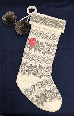Snowflake Fair Isle Christmas Stocking Ivory Silver Faux Fur Wondershop Target ()