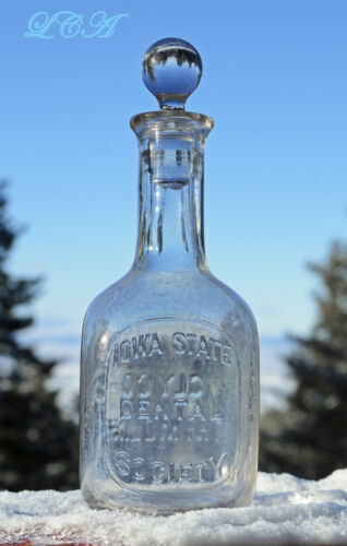 Antique IOWA DENTAL SOCIETY dentifrice bottle - ANY Iowa Dentists out there ?
