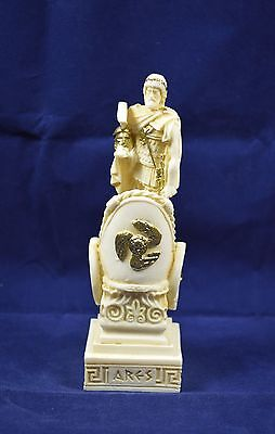 Ares sculpture on chariot ancient Greek God of war statue alabaster artifact