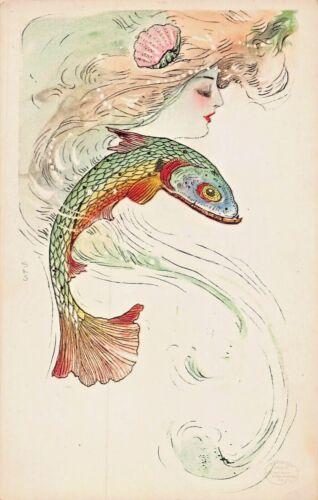 MERMAID LOVERS SERIES~COLORFUL FISH-SAMUEL SCHMUCKER ARTIST FANTASY POSTCARD