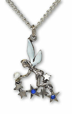 Sparkle Pixie Wings - Pixie In Stars Holding Crystal Ball with Sparkle Wings Pendant Necklace NK-390