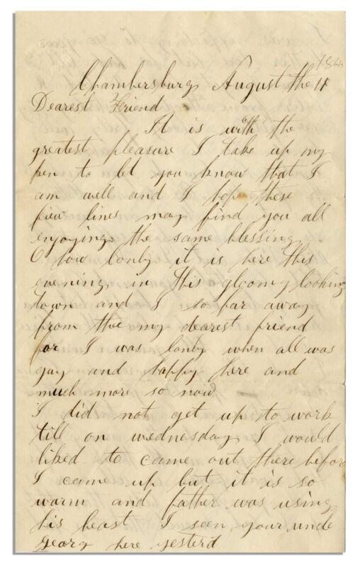 1864 Chambersburg Rare Civil War letter