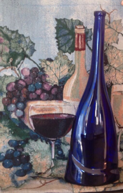"""Cobalt Blue Glass Very Tall 19 1/8"""" Wine Bottle Excellent Condition"""