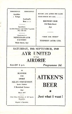 AYR UNITED v Airdrieonians, 10th September 1949, Scottish League Division B