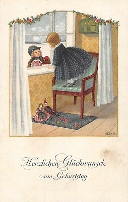 AK Künstlerkarte P. Ebner Kinder am Fenster mit Puppen zum Geburtstag vor 1945