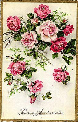 Blumen, Rosen, Glückwunsch AK, 1954