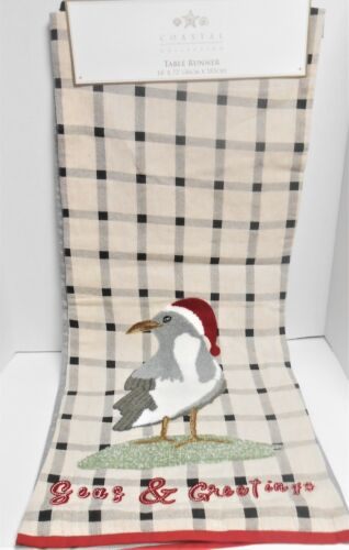 """Coastal Christmas Table Runner 14"""" x 72""""  Embroidered Sandpiper Holiday Hat"""
