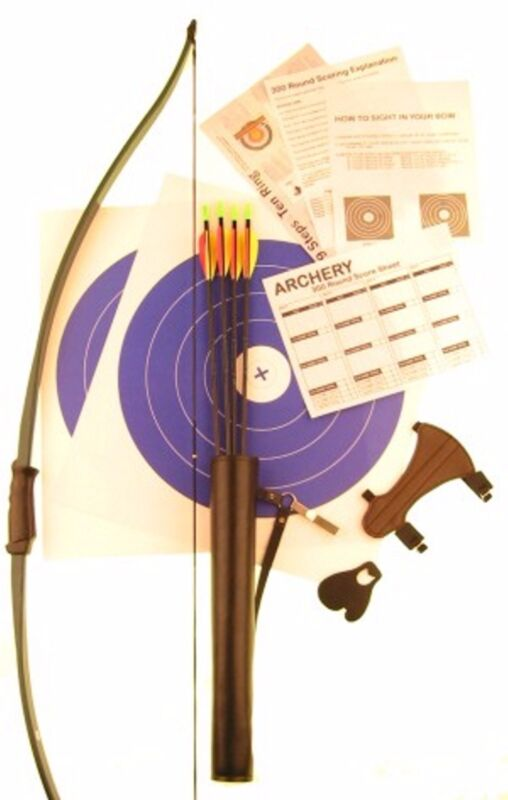 Ages 8 & Up Economy Archery Package Set Beginner Recurve/Longbow Bow