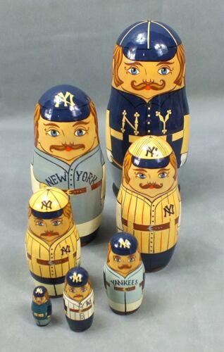 1993 NEW YORK YANKEES Baseball MATRYOSHKA Nesting RUSSIAN Doll Hand Painted