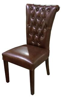 French Provincial Dinning Chair Vintage Brown Leather ONLY $269ea
