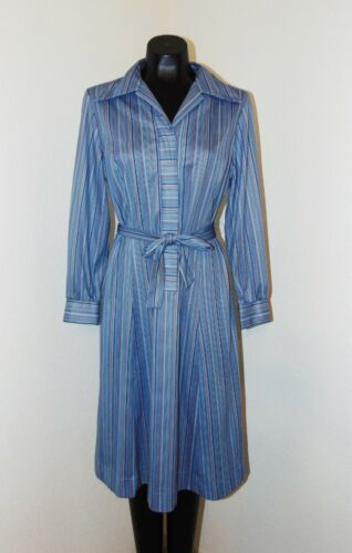 Vintage 1970s Blue Collared Striped Belted Dress in sz Large