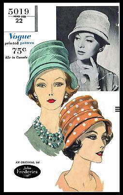 Vintage #5019 VOGUE Designer JOHN FREDERICS Millinery Hat Fabric Pattern SEXY