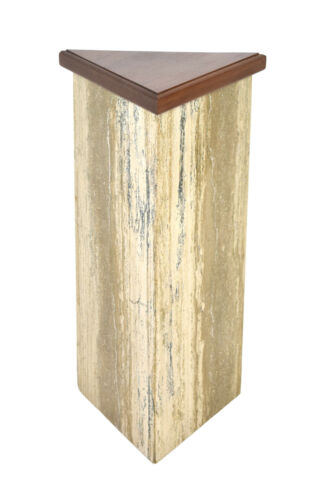 Triangular Marble Granite Sculpture Stand Pedestal w Molded Wood Top