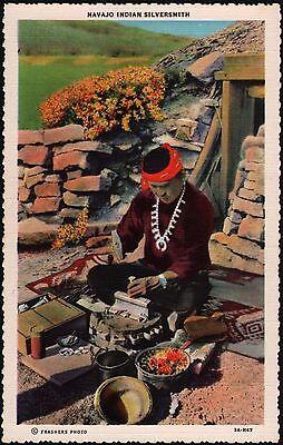 Vintage postcard NAVAJO INDIAN SILVERSMITH linen Frashers Photo Pomona CA unused