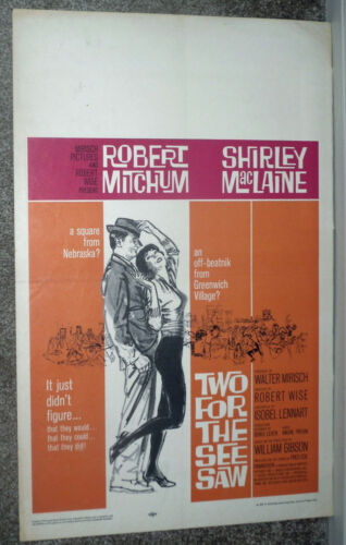 TWO FOR THE SEESAW original 1962 movie poster ROBERT MITCHUM/SHIRLEY MACLAINE