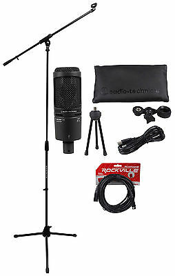 Audio Technica AT2035 Cardioid Condenser Microphone/Mic +Tripod Stand +Cable