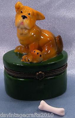 Dog Porcelain Trinket Box #3 Bulldog Hand Painted