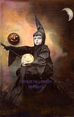 Vintage Halloween Photograph Witch Broom Moon Antique RePrint  - Antique Halloween Photos