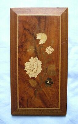 Vintage Hand Carved Wood Inlaid Picture Flower Wall Hanging