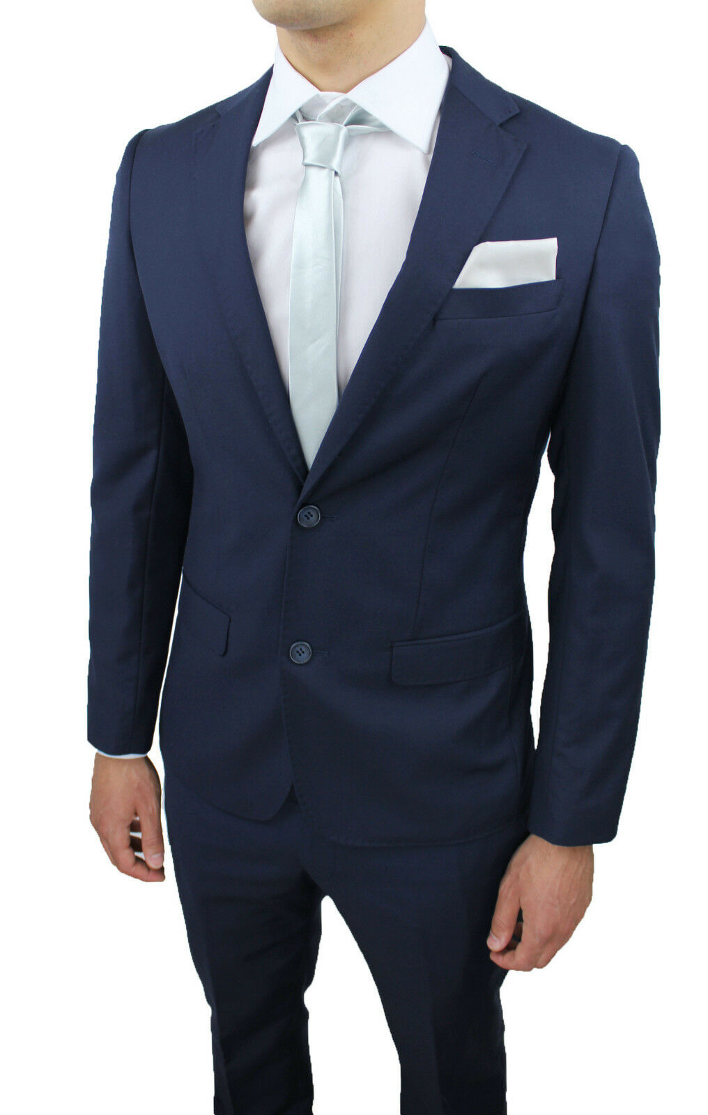 Abito Matrimonio Uomo Blu Scuro : Elegante abito uomo sartoriale blu slim fit aderente