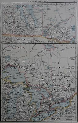Victorian Map 1896 of CANADA - WESTERN The Times Atlas 1st Gen