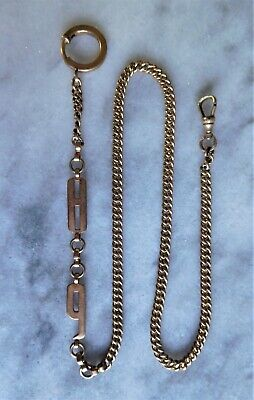 """Antique Gold Filled Pocket Watch Chain 18"""" with Large Number Links """"8"""" & """"9"""""""