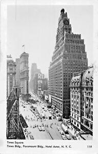 NEW YORK~TIMES SQUARE-BULDING-PARAMOUNT-HOTEL ASTOR-MAINZER PHOTO POSTCARD 1940s