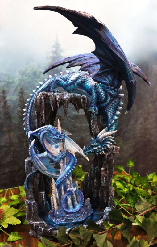 """Ebros 20""""H Blue Frozen Dragon On Cavern With Wyrmling By Ice Stalagmite Statue"""