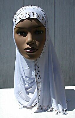 One piece Kuwaiti Mona Rhinestone Hijab Headcover Muslim Wrap WHITE Abaya