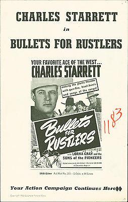 Bullets for Rustlers (1940)  Charles Starrett, Lorna Gray western pressbook