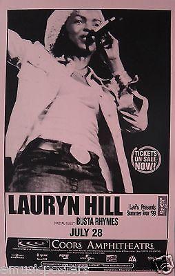 "LAURYN HILL ""SUMMER TOUR 1999"" SAN DIEGO CONCERT POSTER -The Fugees, Hip Hop Rap"