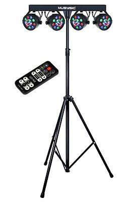 Complete Professional 4-Par Stage LEDs Lights DJ Band DMX System & Stand MU-L31G