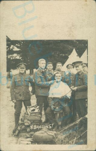 WW1 Brecknockshire battalion Group photo soldier getting  morning shave at camp