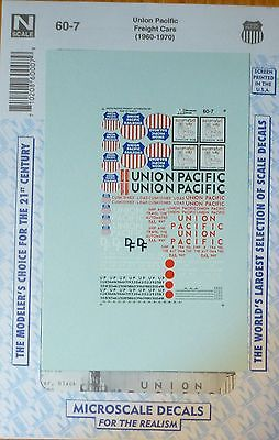 Microscale Decal N #60-7 Union Pacific Freight Cars ( 1960-1970 ) Decal Sheet