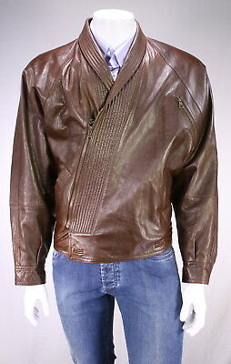 * GIANNI VERSACE * Vintage 90s Brown Pebble Grain Shawl Collar Leather Jacket 40