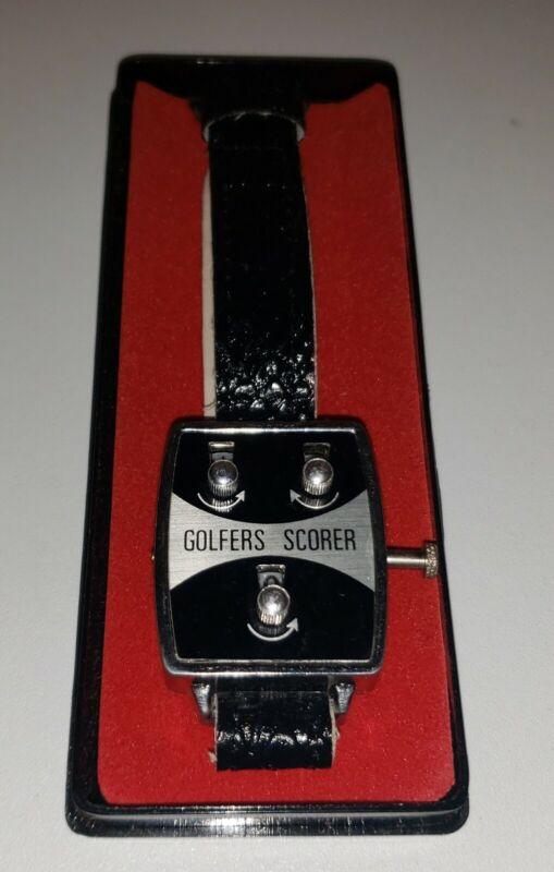 GOLFER SCORER Vintage Wristwatch, Original Box, Leather Band Stroke Counter NICE