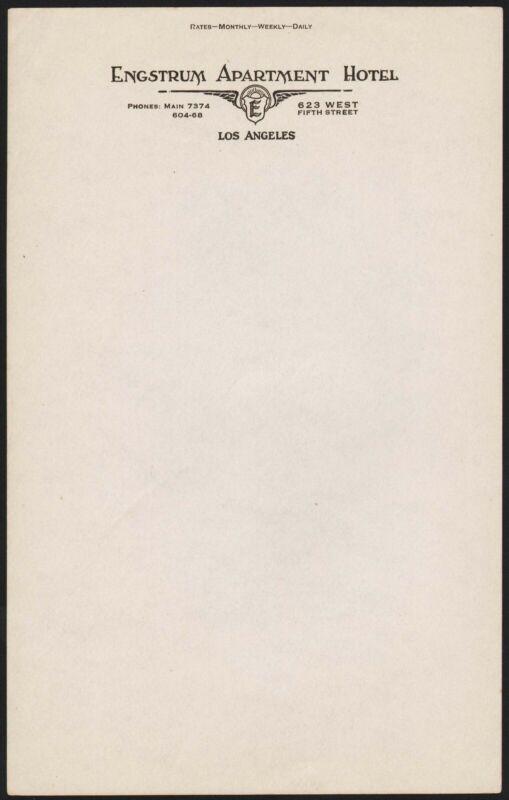 Vintage letterhead ENGSTRUM APARTMENT HOTEL Los Angeles California new old stock
