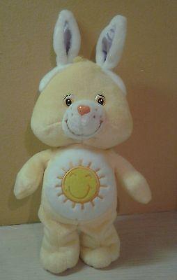 """2003 Care Bear Funshine Teddy Bear with Bunny Rabbit Ears Plush 9"""""""