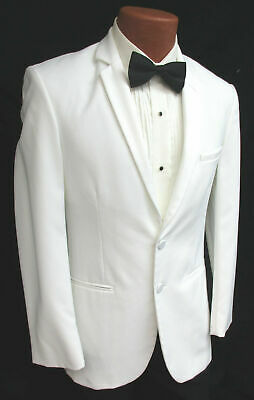 Handsome White Classic 2 Button Notch Lapel Tuxedo Dinner Jacket Suit Blazer (Classic Notch Tuxedo)