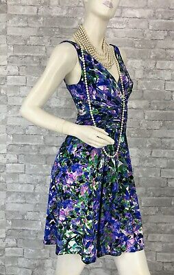 Roberto Cavalli New Stretch Blue Green Floral Dress 6 US 42 IT M Runway Auth