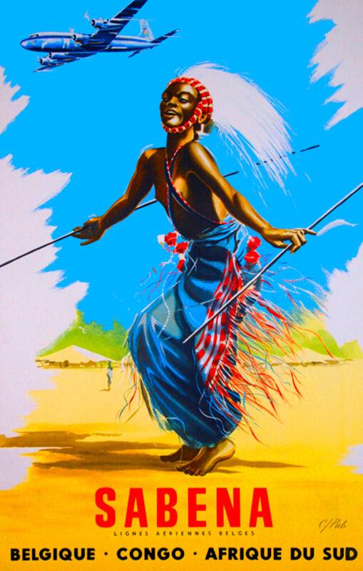 Belgium Congo Africa African Vintage Afrique Travel Art Poster Advertisement