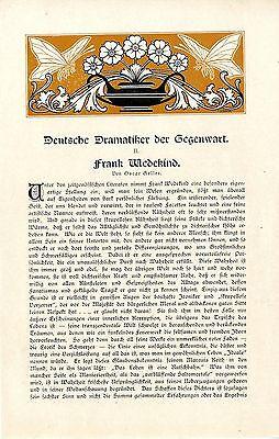 Oscar Geller Deutscher Dramatiker der Gegenwart Frank Wedekind Schauspieler 1909