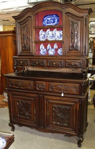 Antique Country French Hand Carved Solid Walnut Vassilier Buffet Cupboard  C1870