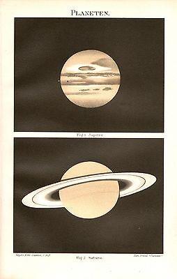 Planetensystem Planeten Sonnensystem  Jupiter Saturn  Historische Karte 1896