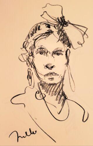 JOSE TRUJILLO - Original Charcoal Paper Sketch Drawing 11X17 WOMAN PORTRAIT