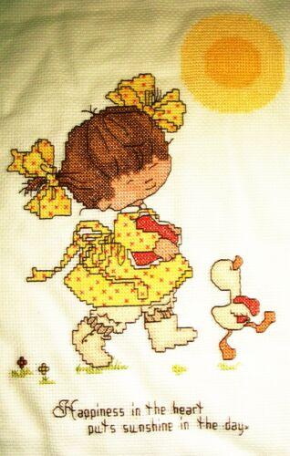 Finished cross stitch piece-Happiness/February