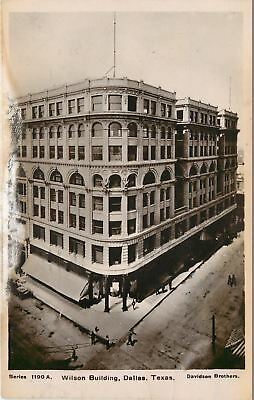 Dallas Texas~Beaux Arts Wilson Building~Sepia Real Photo Postcard 1908
